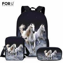 Children School Bag 3pcs for Toddler Horse Printing Kid's Schoolbag Shoulder Bag Girls Kindergarten Book Bags Mochila infantil