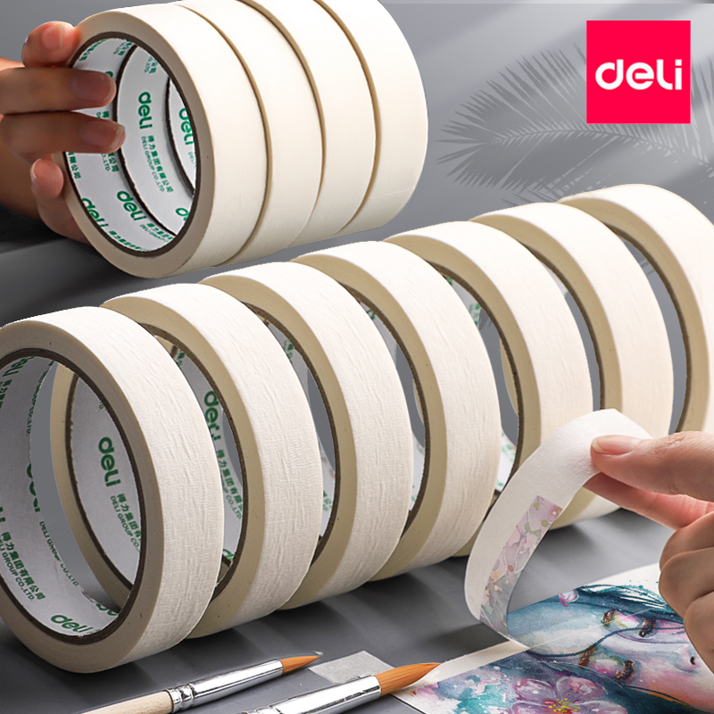 Deli  Art Painting Masked paper tape School Students Drawing Sketching Artistic creation Masking Tape White Color 15/20/24/36mm