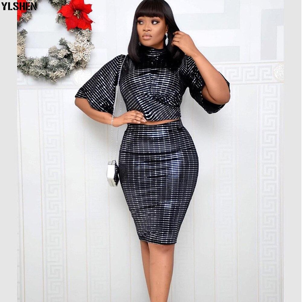 African Dresses For Women 2 Piece Set Crop Top + Skirt Africa Clothing Super Elastic African Dress Dashiki Summer Ankara Dresses