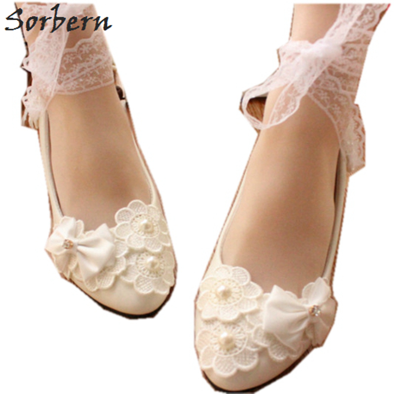Sorbern White Bow Wedding Shoes Cute Kitten Heels Lace Up Ankle Straps Flowers Bridal Shoes Pump Heels Butterfly Heels Fashion