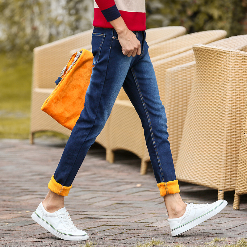 Winter Korean-style Men's Trousers Plus Velvet Elasticity Skinny Pants MEN'S Trousers Youth Slim Fit Fashion Thick MEN'S Jeans