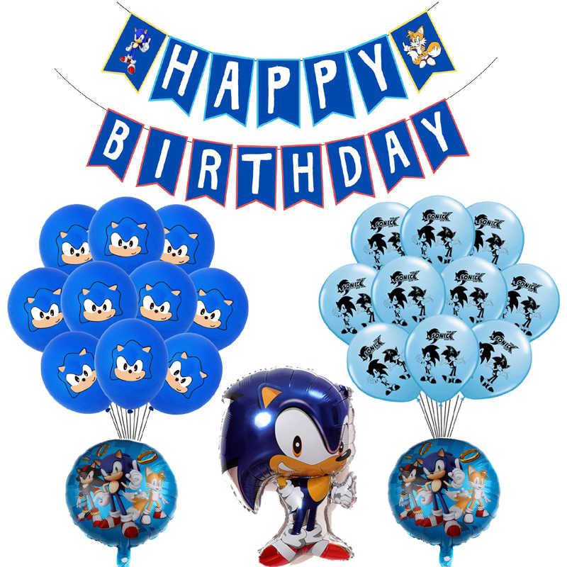 1 Set Sonic Ballonnen De Egel Ballon Sega Game Fans Hero Thema Partij Decoratie Gelukkige Verjaardag Banner Kids Jongens Speelgoed