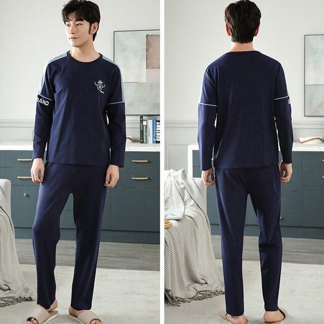 New Autumn Winter Cotton Pyjama Men Pajama Set Fashion Plaid Sleepwear Suit With Pocket Casual Comfortable Sports Warm Outwear 5