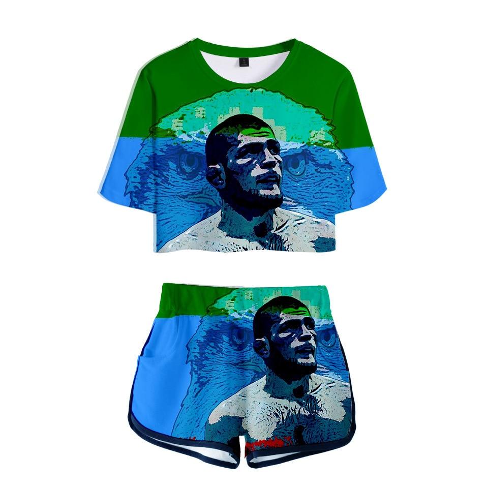 Trend Khabib Nurmagomedov Digital Printing 3D Navel Short Sleeve T-shirt Shorts WOMEN'S Suit