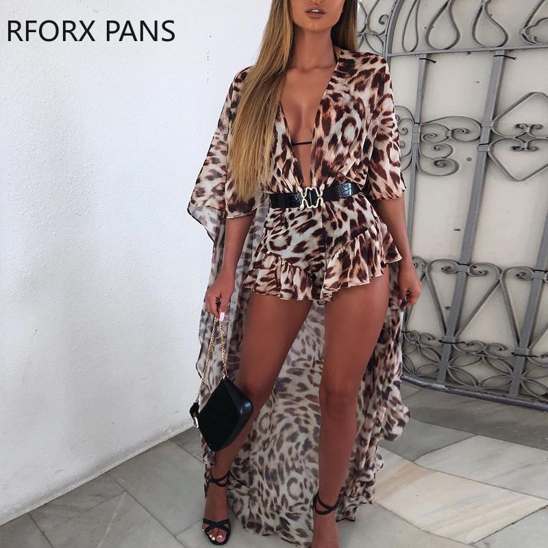 Leopard Print Dip Hem Ruffled Jumpsuit Sexy Jumpsuit  for Women 2020