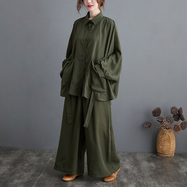Two Piece Set Casual  Shirts Pockets Loose Long Pants Oversized  3