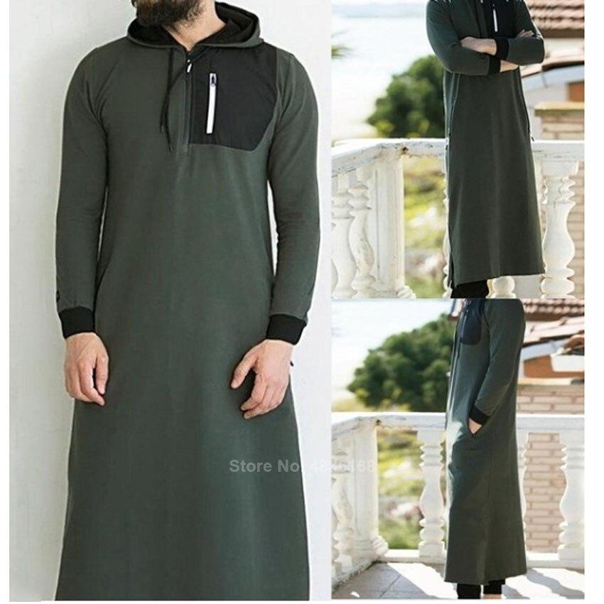 Muslim Dress Islamic Clothing Men Pakistan Robe Saudi Arabia Hodded Clothing Dubai Long Sleeve Solid Abaya Male Thobe Kaftan