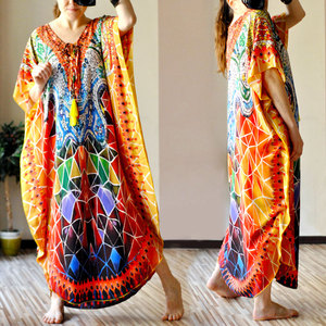 Image 5 - 2020 Quick drying Bohemian Printed Tassel Summer Beach Maxi Dress Cotton Tunic Women Plus Size Beachwear SwimSuit Cover Up Q999