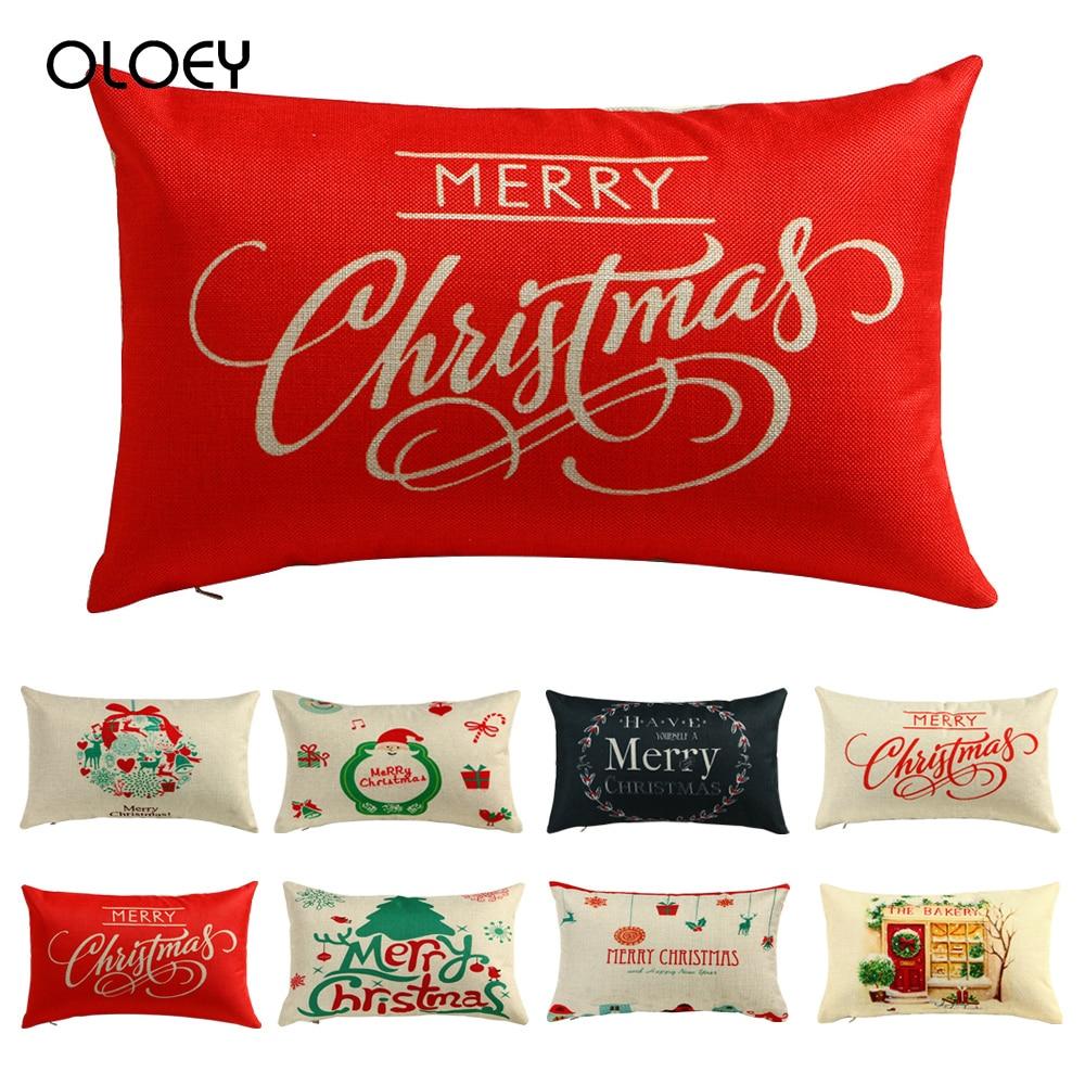 30 * 50 Cm Merry Christmas Decorative Pillow Case Rectangular Cotton Short Pile Pillow Case Fashion Letter Printing Pillow Case.