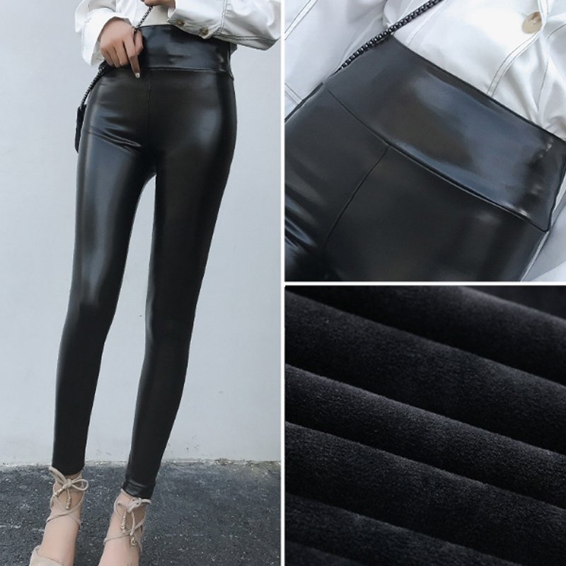 Faux PU Leather Leggings Fleece Lined Winter Plus Size Thickening Legging Winter Stretch Lady Pants Women Trouser Female Leggins