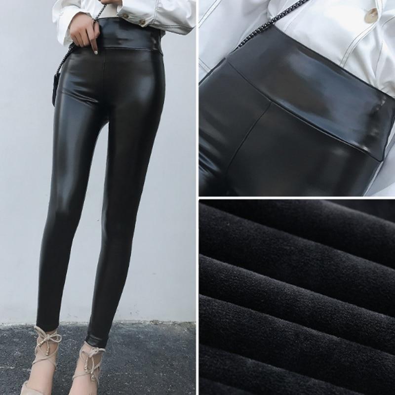 Faux PU Leather   Leggings   Fleece Lined Winter Plus Size Thickening   Legging   Winter Stretch Lady Pants Women Trouser Female Leggins