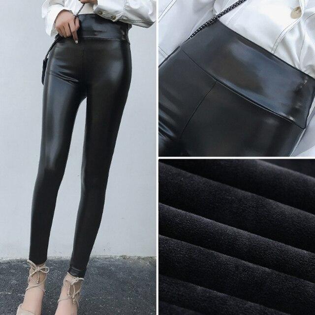 Legginsy ze skóry ekologicznej podszyty polarem zima Plus rozmiar pogrubienie Legging zimowe spodnie damskie Stretch damskie spodnie kobiece leginsy