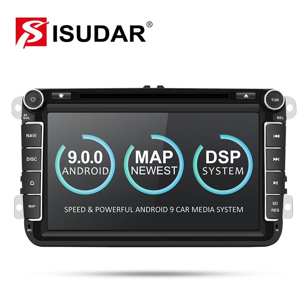 Isudar Two Din Car Multimedia Player Android 9 Auto Radio For Skoda/Seat/Volkswagen/VW/Passat b7/POLO/GOLF 5 6 DVD GPS 4 Cores
