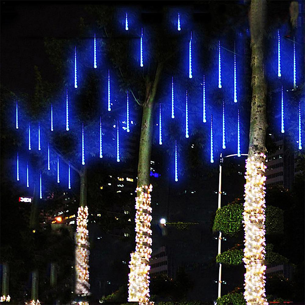 New Year 30cm 50cm Outdoor Meteor Shower Rain 8 Tubes 192/288LED String Lights Waterproof For Christmas Wedding Party Decoration