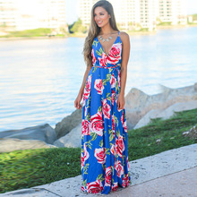 Casual Boho Dress Women 2019 Summer Spaghetti Strap Beach Dress Sexy V Neck Backless Women Maxi Dresses Vacation Long Vestidos