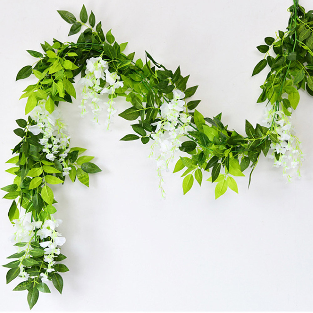 2M Flower String Artificial Wisteria Vine Garland Plants Foliage Wedding Arch Decoration Fake Flower Rattan Hanging Wall Decor 5