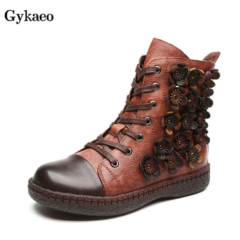 Gykaeo Winter Vintage Style Genuine Leather Women Boots Woman Lace Up Comfort Flat Plush Warm Shoes Botas Mujer Invierno 2019
