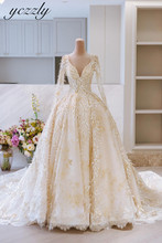 Luxury Bling Dubai Ball Gown Leaves Appliques Long Sleeves Wedding Dresses Cathedral Train Plus Size Wedding Gowns Casamento W10