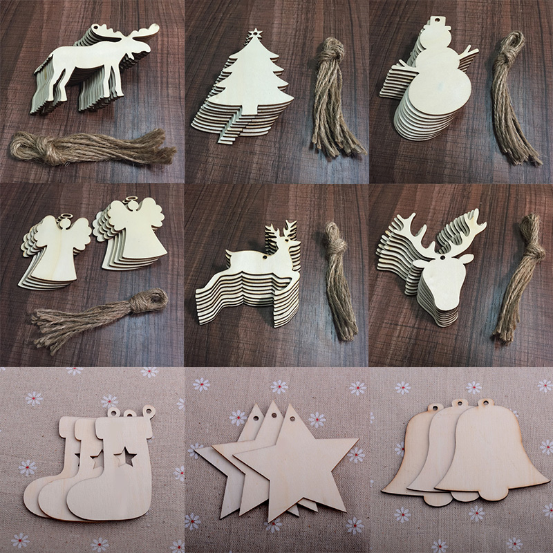 10pcs/lot Wooden Christmas Decorations For Tree Endant Elk Bell Hanging Ornament Christmas Garland Home Decorations Xmas Cards