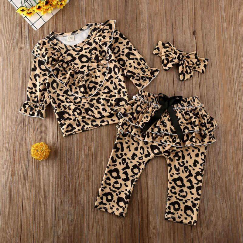2020 yeni bebek kız leopar üstleri giyim yenidoğan çocuk bebek kız kıyafetler giysileri t-shirt + fırfırlı pantolon 3 adet eşofman seti