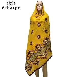 Image 4 - Mais recente africano muçulmano bordado lenço de algodão feminino, algodão bonito e econômico grande senhora cachecol para xales ec199