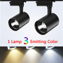 Triple Color Changeable Led Track Light COB Spotlight 12W 20W 30W 40W 220V Spot Rail Light Led Fixture Clothing Shop Gallery(China)