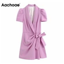 Aachoae Solid Blazer-style Jumpsuit Women Puff Short Sleeve Bow Tie Chic Romper