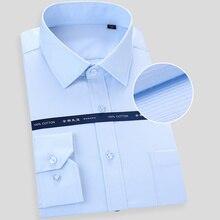 عالية الجودة غير الحديد الرجال فستان بأكمام طويلة قميص أبيض أزرق الأعمال عادية الذكور الاجتماعية منتظم صالح حجم كبير