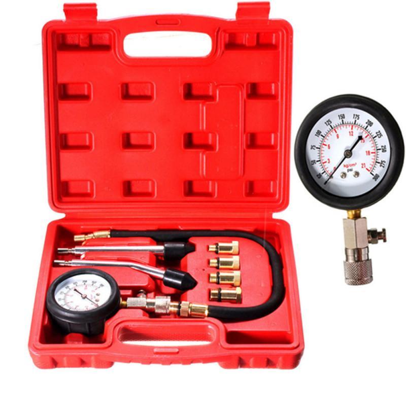 Compression Tester Pressure Gauge Tester Kit Motor Auto Petrol Gas Engine Cylinder Car Motorcycle Pressure Gauge Kit 0-300psi