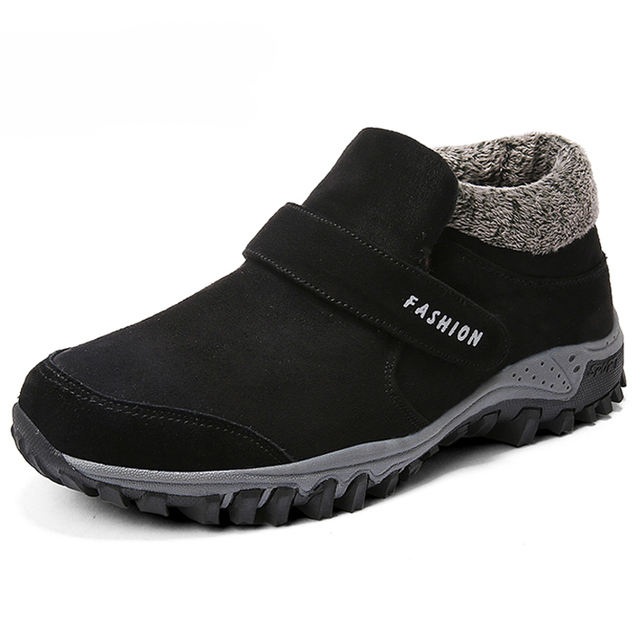 Warm winter boots Men shoes Russian style Ankle snow boots for men suede leather women boots with fur winter shoes men boots