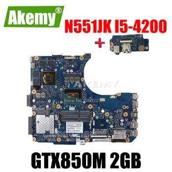 Placa de envío + placa base N551JK i5-4200 GTX850M 2G para For For For For Asus N551J G551JK placa base de ordenador portátil N551JK placa base N551JK