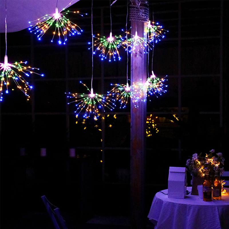 Festival Hanging Starburst String Lights 100/200 DIY Firework Copper Fairy Garland Christmas Lights Outdoor Twinkle Light
