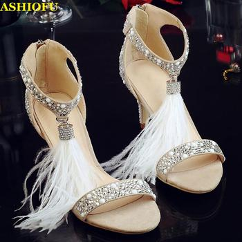 ASHIOFU Handmade Ladies High Heel Sandals Fringed&Tassels Party Prom Shoes Glitter Dress Evening Fashion Sandals Shoes