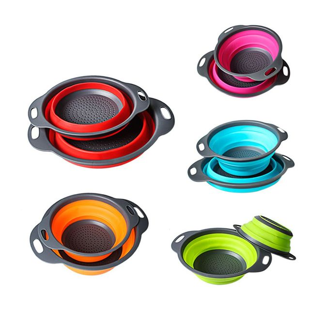 Folding Strainer Bowl Outdoor Camping Tableware 6