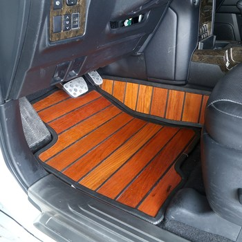 For Toyota Land Cruiser Prado J150 2010-2019 Auto Car Synthetic Wood Floor Mats Foot Wooden Pads Carpets Interior Accessories