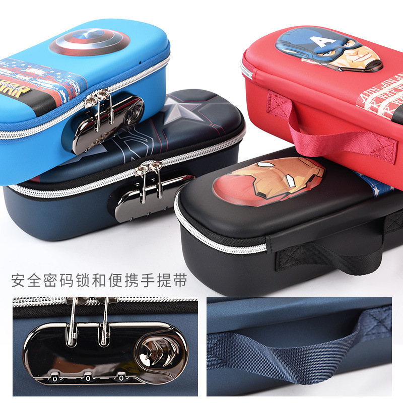 Image 5 - Disney stationery password lock pen case Captain America iron Man school supplies Student boy gift-in Pencil Bags from Office & School Supplies