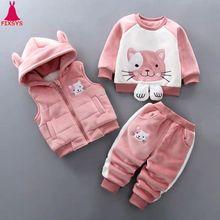 Nuovo 2020 Baby Boys Girls Warm Set Winter Cartoon Cat Kids ispessimento gilet con cappuccio maglione Pant 3Pcs abiti sportivi abbigliamento per bambini