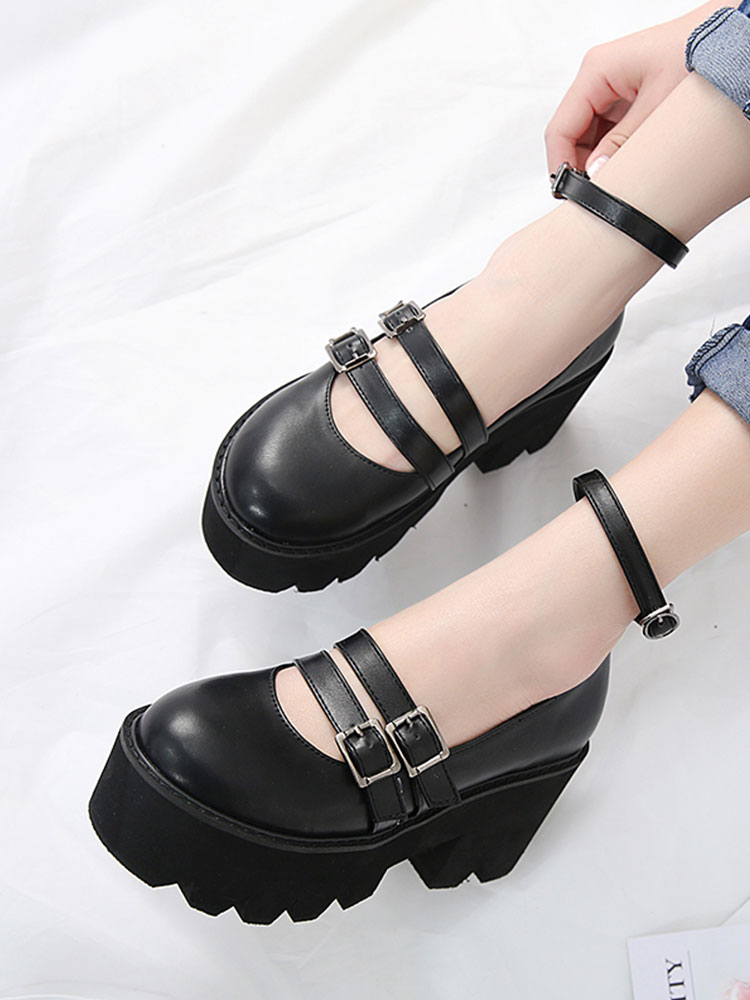 Gdgydh Heels Platform Creepers-Shoes Ankle-Strap Womens-Pump Punk Comfortable High-Chunky