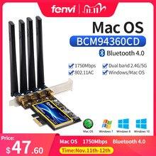 デュアルバンド802.11ac 1750 150mbps BCM94360CD bluetooth 4.0 wi fiカードデスクトップhackintosh mac os pcieの無線lanアダプタワイヤレス4アンテナ