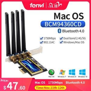 Image 1 - Carte Wi Fi 802.11ac, 1750 mb/s, avec Bluetooth 4.0, pour ordinateur de bureau, avec 4 antennes, adaptateur sans fil double bande, pour Mac OS PCIe (BCM94360CD)