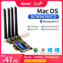 Tarjeta Wi Fi de doble banda 802.11ac, 1200mbps, BCM94360CD, Bluetooth 1750, adaptador inalámbrico de escritorio Hackintosh, Mac OS, PCIe, Wifi, 4 antenas