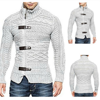 ZOGAA Autumn Winter Mens Sweater Coat Casual Warm Sweater Cardigan Men Solid Turtleneck Slim Fit Knitting Thick Clothes Sweater fat mm sweater 2017 autumn winter the new fashion loose cardigan hooded thick knitting casual ms sweater coat m 5xl plus size a