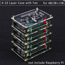 Корпус для корпуса Raspberry Pi 4 Model B, акриловый корпус 4 10 слоев, охлаждающий вентилятор, металлический корпус для Raspberry Pi 4B/3B +/3B/2B