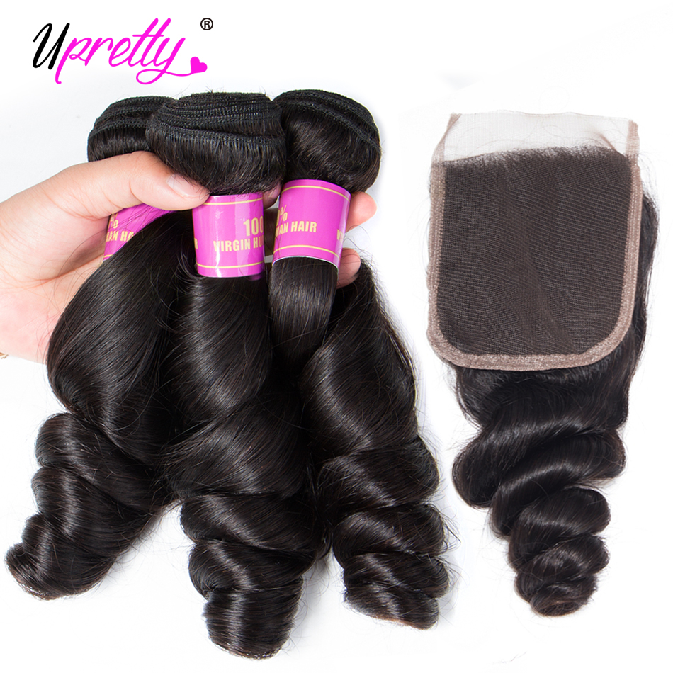 H9139d46f200c42bfba8bb6c4884df39bU Upretty Hair Loose Wave Bundles With Lace Closure 6x6 5x5 Closure With Bundles Brazilian Remy Human Hair Bundles With Closure