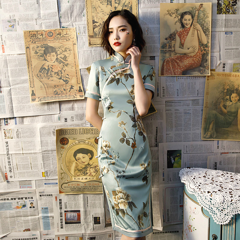 SHENG COCO Female Silk Retro Short Qipao Cheongsam Dress Chinese Style Classic Chipao Blue Green Dried Flowers Cheongsam Dress