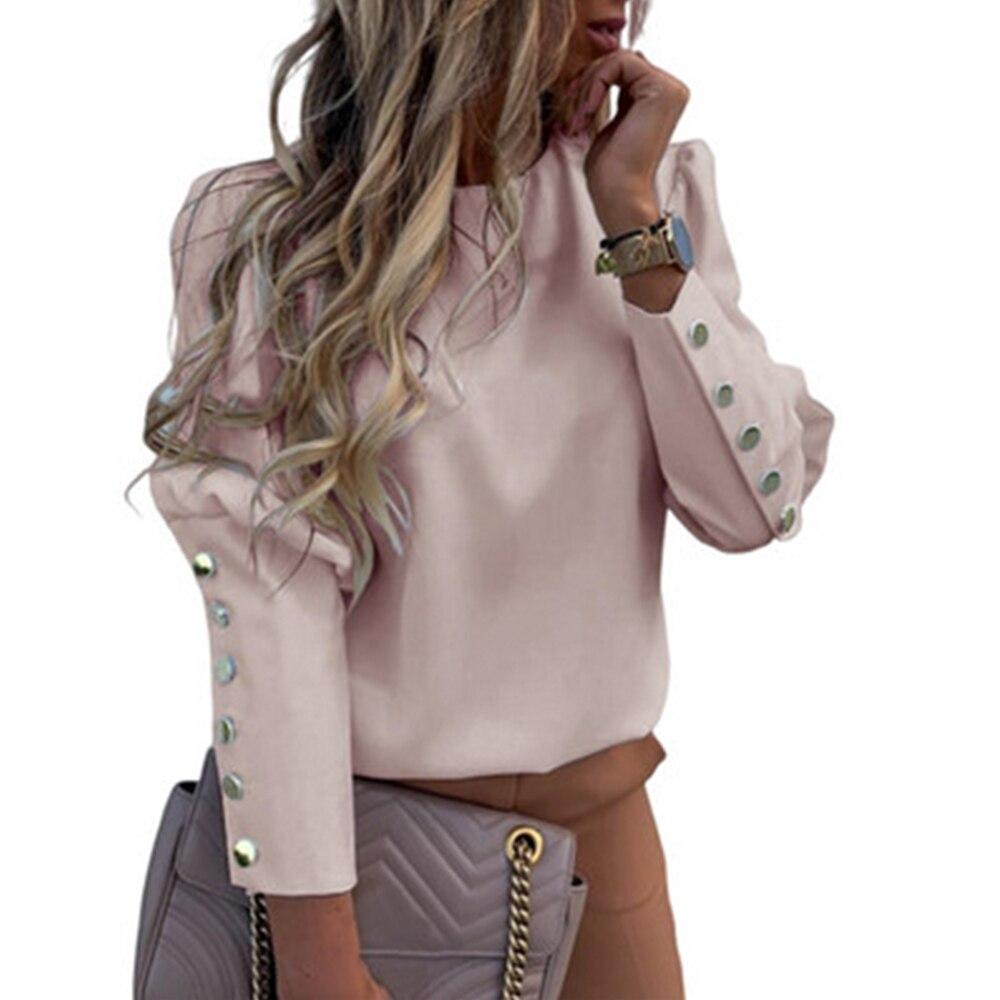 Women Elegant Puff Shoulder Blouse Shirts Office Lady Autumn Metal Buttoned Detail Blouses Women Pineapple Print Long Sleeve Top