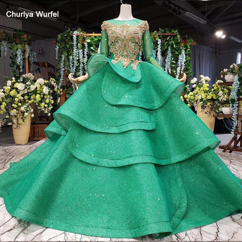 HTL989 Green Evening Dress Long Sleeve O-neck Golden Bead Bow Ruffle Long Dress Evening Gowns For Women Vestido De Noche Largo