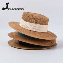 Visor-Cap Panama-Hat-Bone Girl Womens Summer Straw-Hat Ribbon-Bow Flat-Top Fashion Ladies