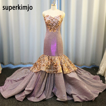 SuperKimJo Purple Evening Dresses Long Sparkly Mermaid Sequin Applique Sweetheart Neck Modest Evening Gowns Vestido Longo cheap NONE Floor-Length Polyester Trumpet Mermaid Formal Evening Appliques Sequined Tiered Pleat Sleeveless lavender evening dress
