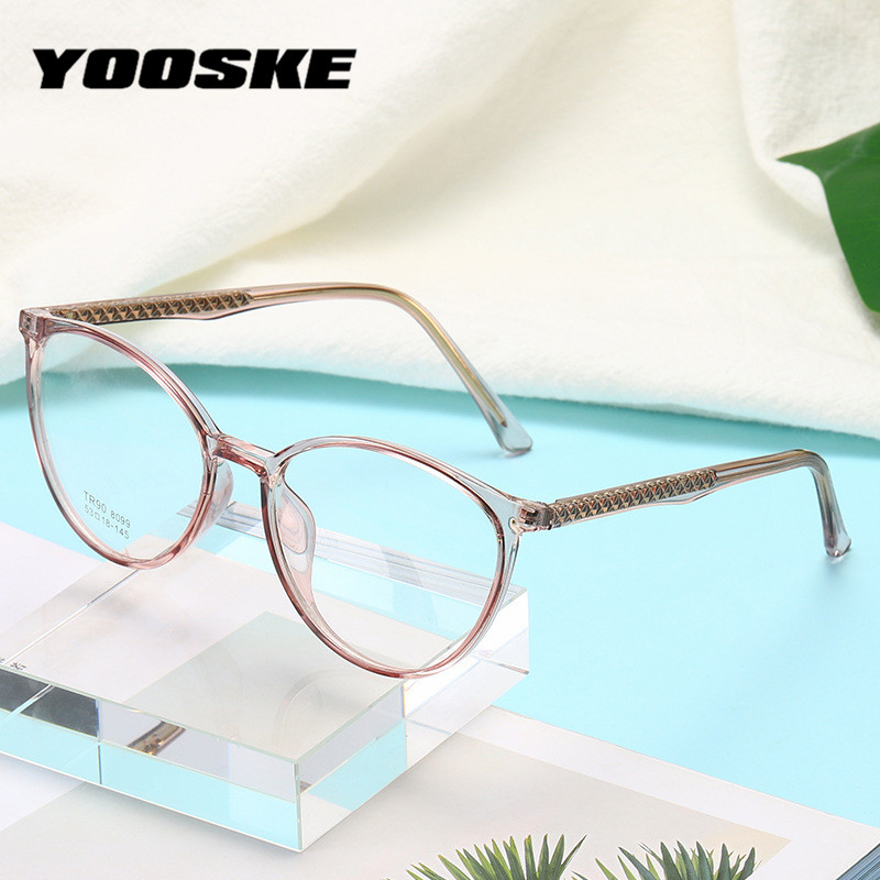 YOOSKE 2020 Vintage Glasses Frame Women Round Eyewear Clear Glasses Women's Transparent Glasses Spectacle